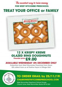 Krispy Kreme sale at West Wycombe Festive Fayre with Bottle Tombola